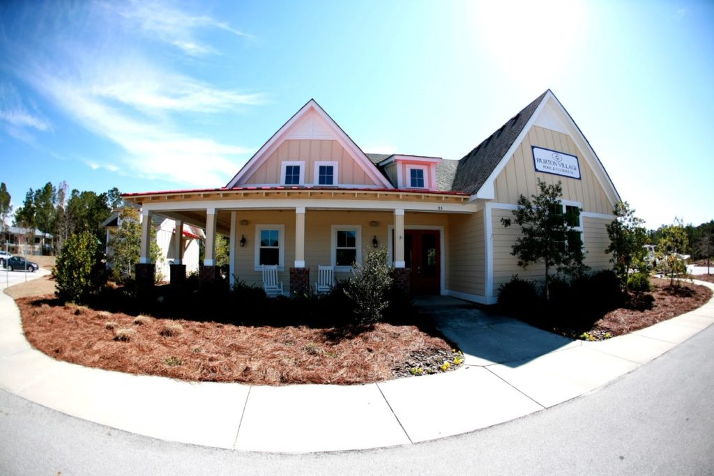 a fish-eye lens view of the front of the Burton Village Clubhouse