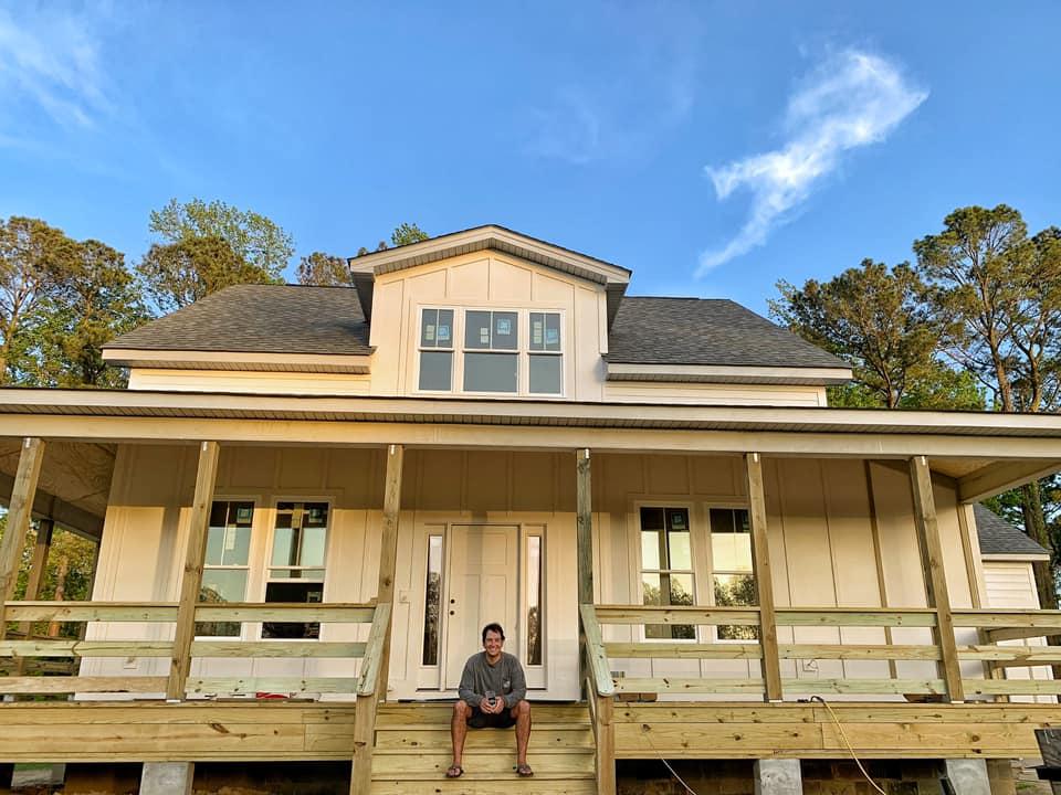 SoCo home, Blair on the porch
