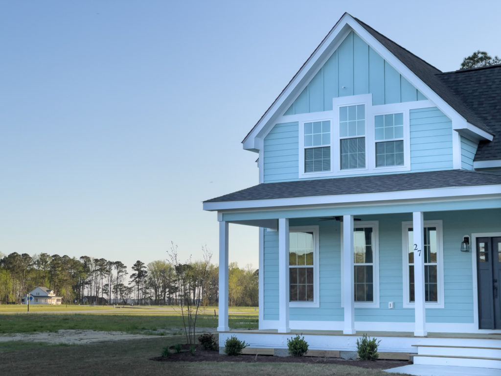 Cottage home at Arlington Place, a riverfront neighborhood in Minnesott Beach, NC.