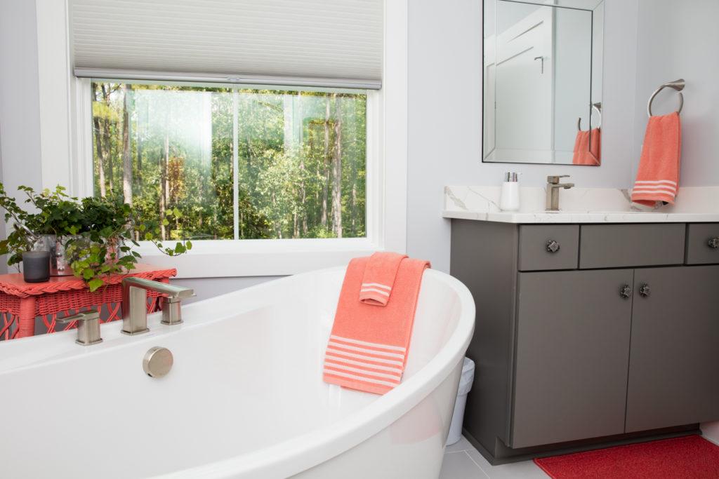 Spinnaker cottage master bathroom with vanity.