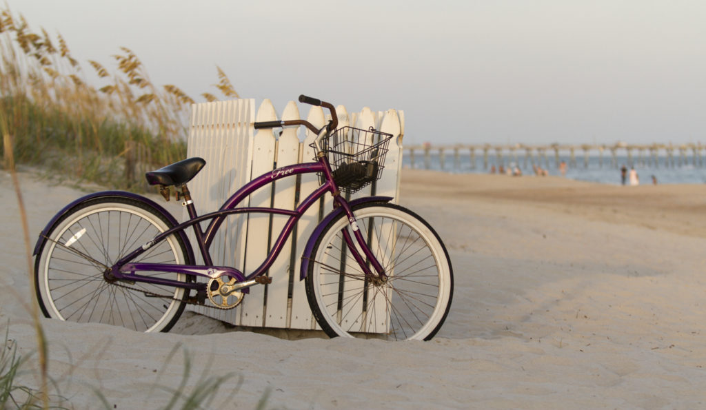 A bicycle on the beach, Atlantic Beach, North Carolina, part of what's known as the Crystal Coast.