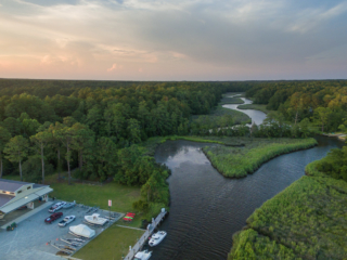 aerial view of mill creek and camp seafarer