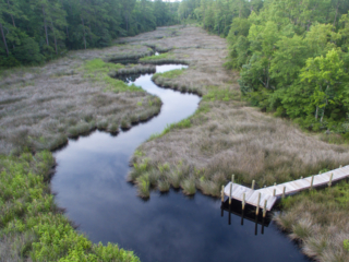 aerial view of mill creek and kayak launch/dock