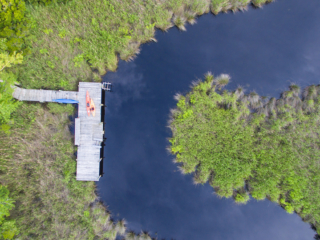 aerial view of the kayak dock on mill creek
