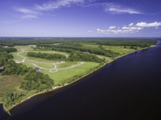 aerial view of Arlington Place land and the neuse river