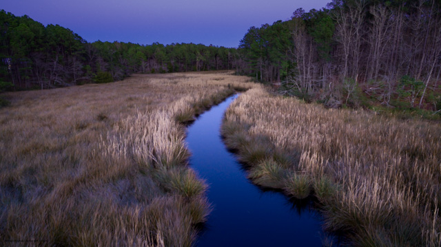 Twilight photograph by Will Conkwright of Mill Creek inside Arlington Place, a riverfront neighborhood located in Minnesott Beach, NC.