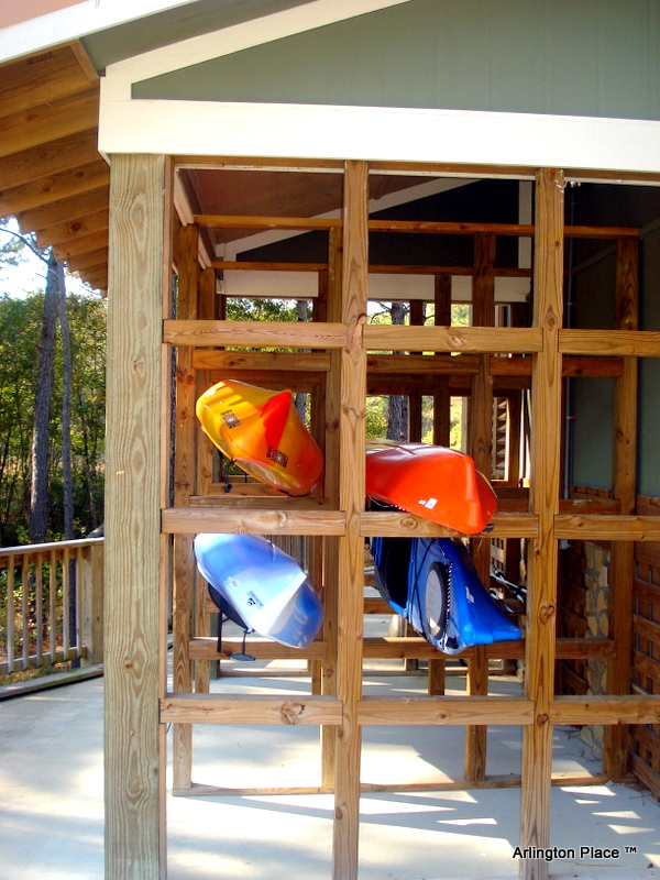 kayak storage on the side of the Outfitters Center