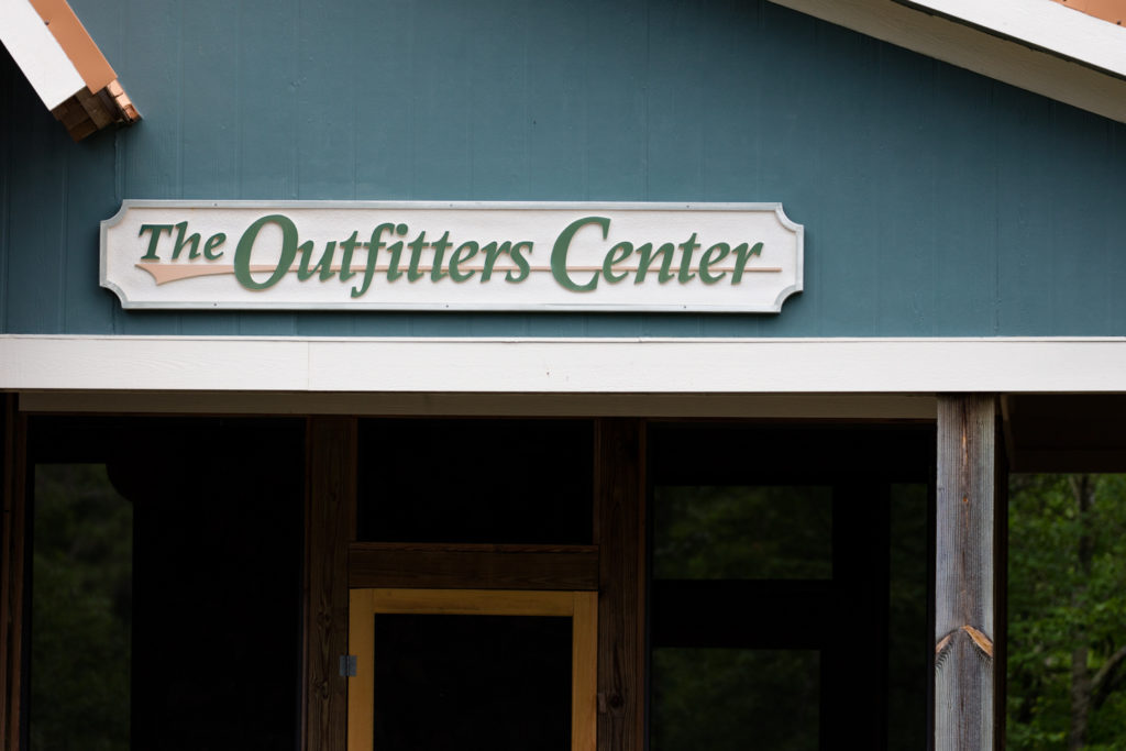 the sign at the Outfitters Center