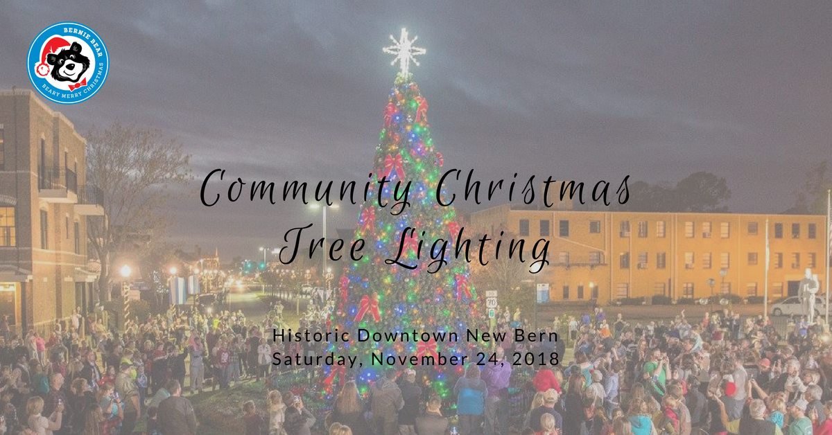 Beary Merry Christmas tree lighting event in downtown New Bern, NC.