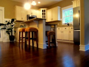 The finished kitchen inside the Pamlico Cottage.