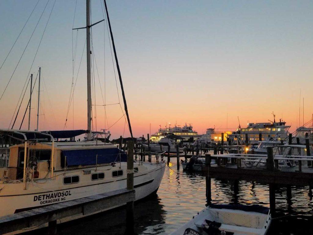 Sunset on a marina in Ocracoke.
