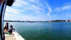Moored sailboats outside of Ocracoke, NC.
