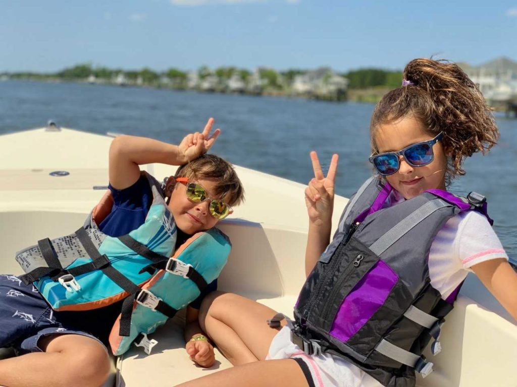 Kids on the boat headed to Shackelford Banks.