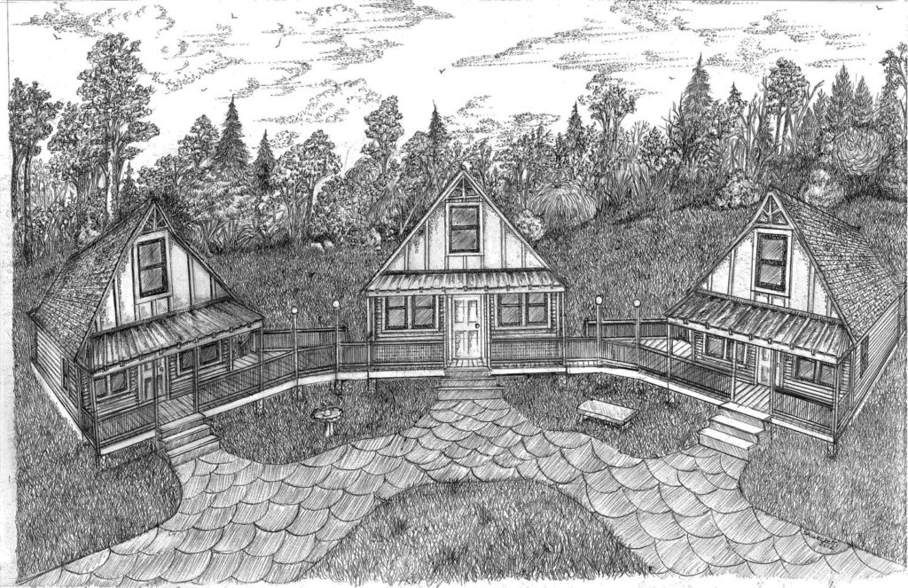 Pencil drawing of the All Joy Cottage.