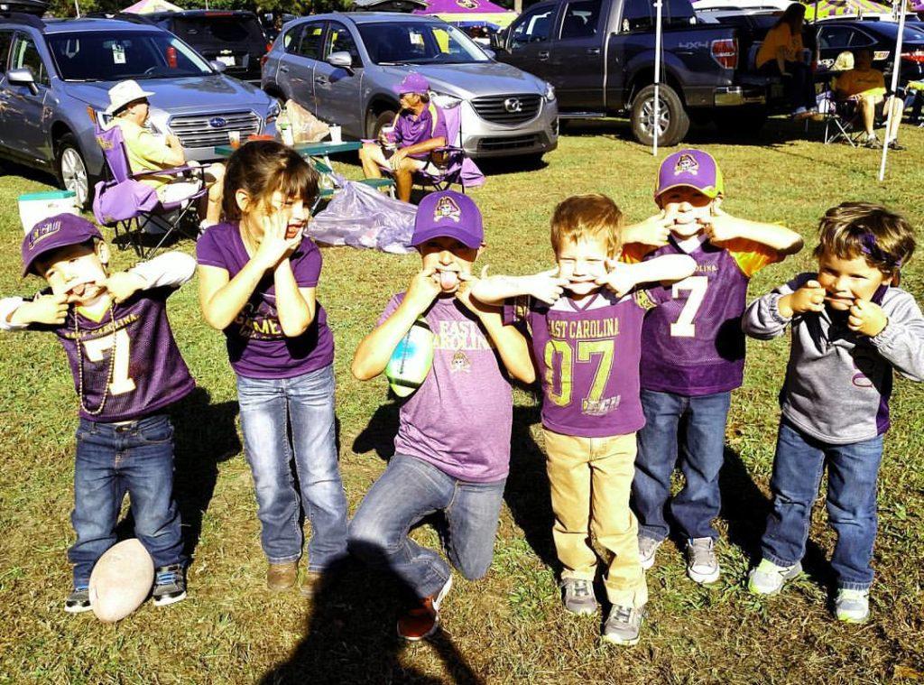 ECU football tailgating kids
