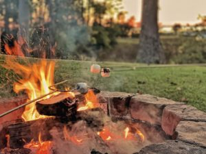 Marshmallows roasting in the backyard over an open fire.