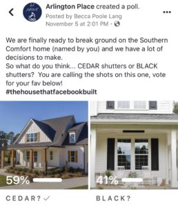 Poll results deciding on which shutters to feature on the Southern Comfort spec home.