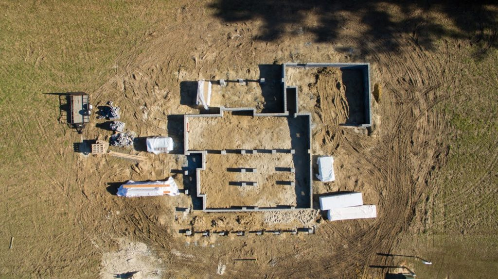 Aerial view of the Southern Comfort spec house.