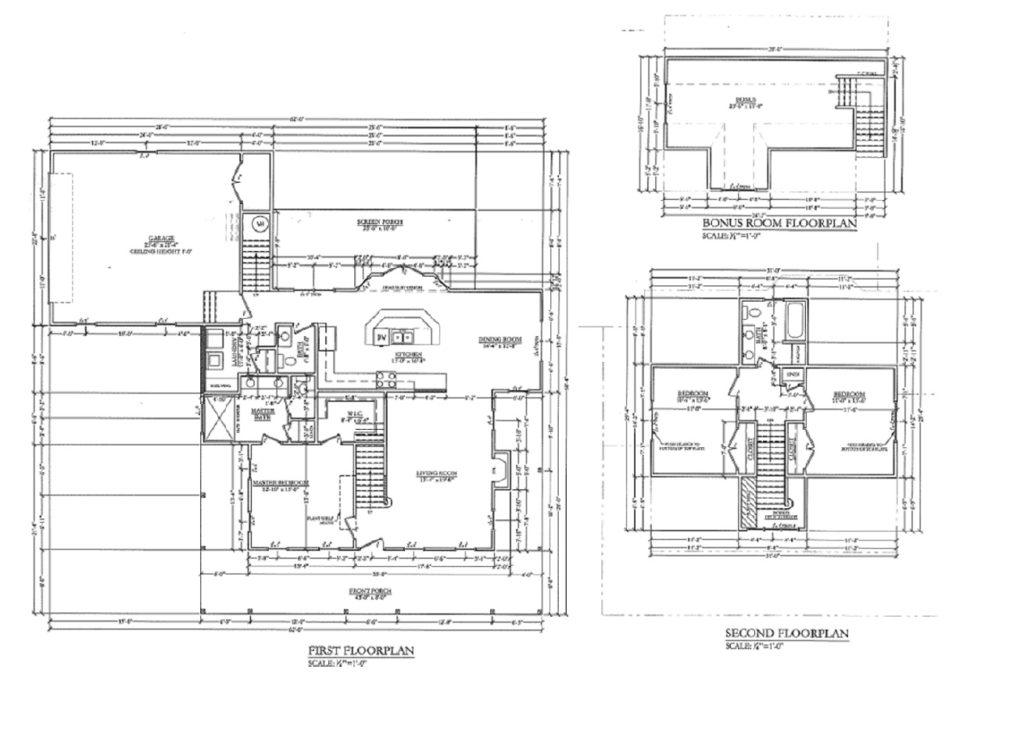 Floor plan for a completed spec house.