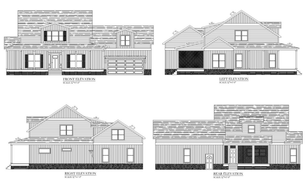 Exterior elevations for the Southern Comfort spec home.