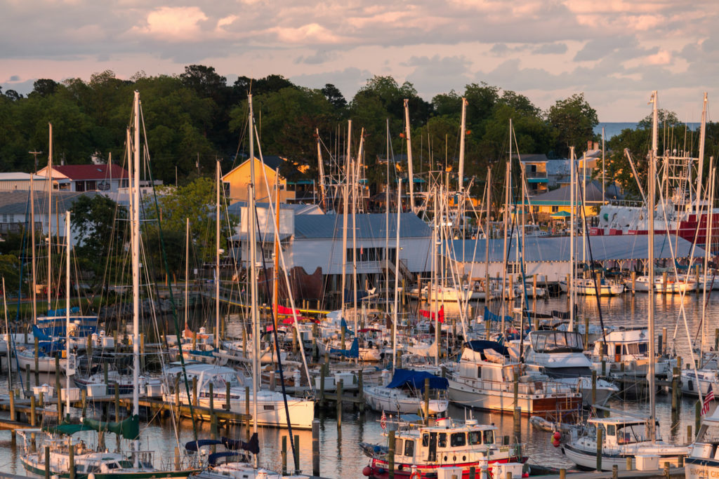 Sunset over the Oriental harbor.  Photography by Will Conkwright.