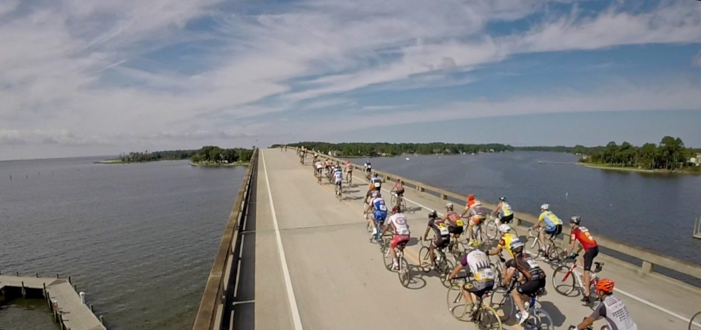 Cyclists riding over the Oriental bridge during the BikeMS event.