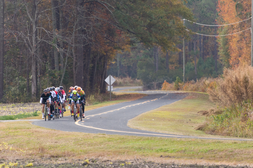 Group of cyclists riding around Pamlico County, North Carolina.