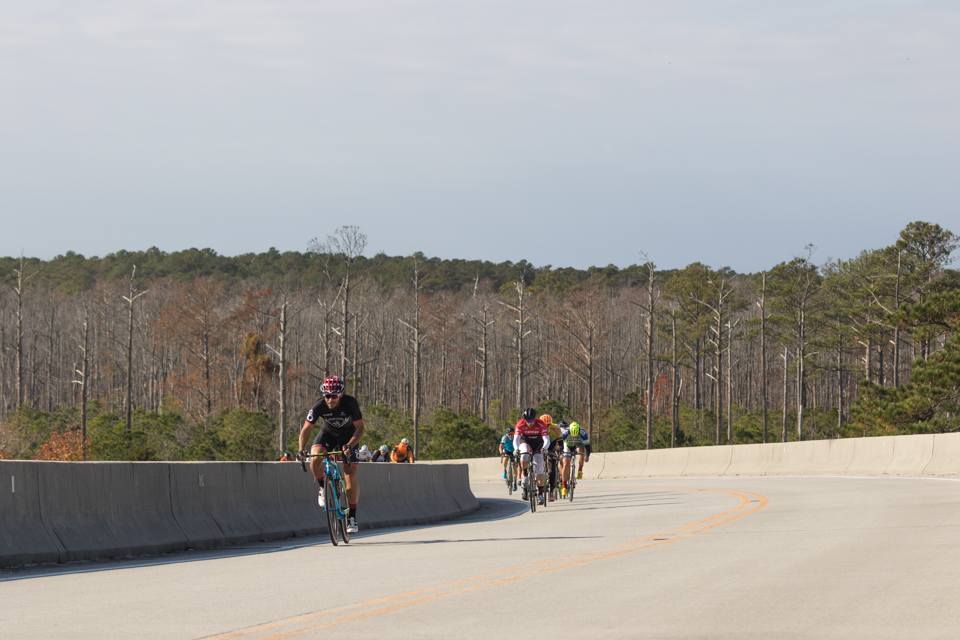 Cyclists riding up the Hobucken bridge during the annual Chuck FONDEAUX! cycling epic.