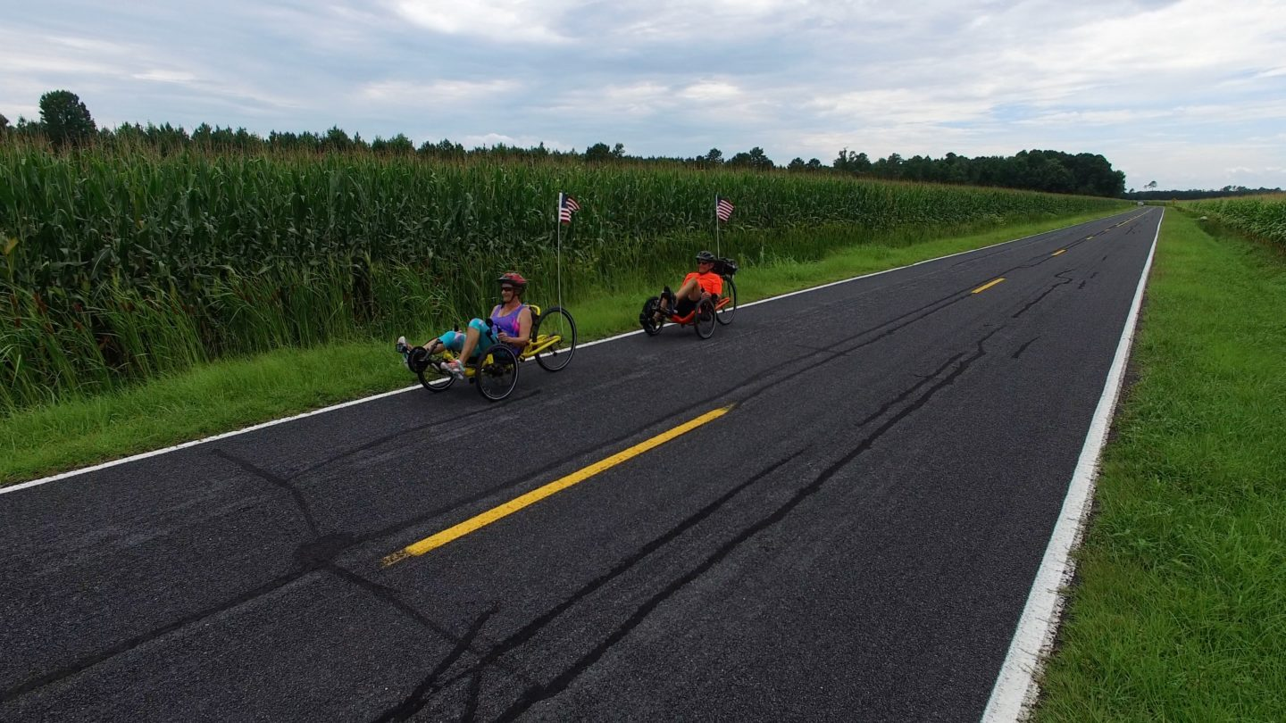 Couple riding recumbent trikes around Pamlico County.