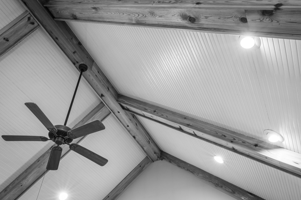 Vaulted beadboard ceilings.