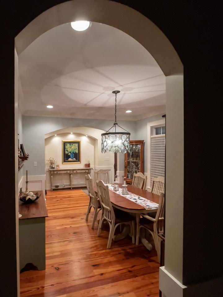 Looking through dining room towards front door.
