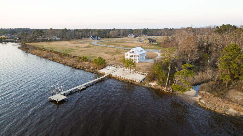 Aerial photograph of Arlington Place. A riverfront neighborhood located near Minnesott Beach, NC.