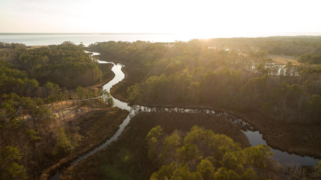 Aerial photograph of Mill Creek inside Arlington Place. A riverfront neighborhood located near Minnesott Beach, NC.