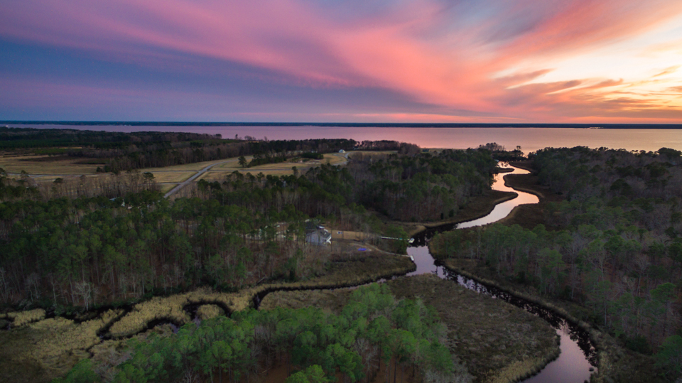 Sunset looking over Mill Creek towards the Neuse River.