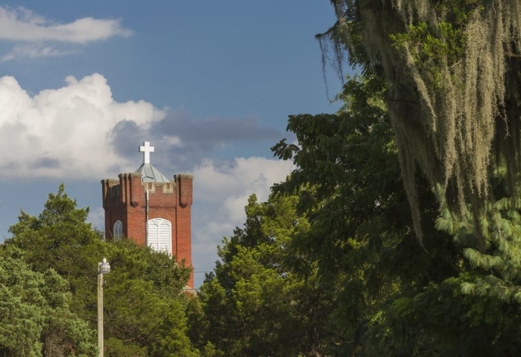 St Cyprian's Episcopal Church tower and trees.