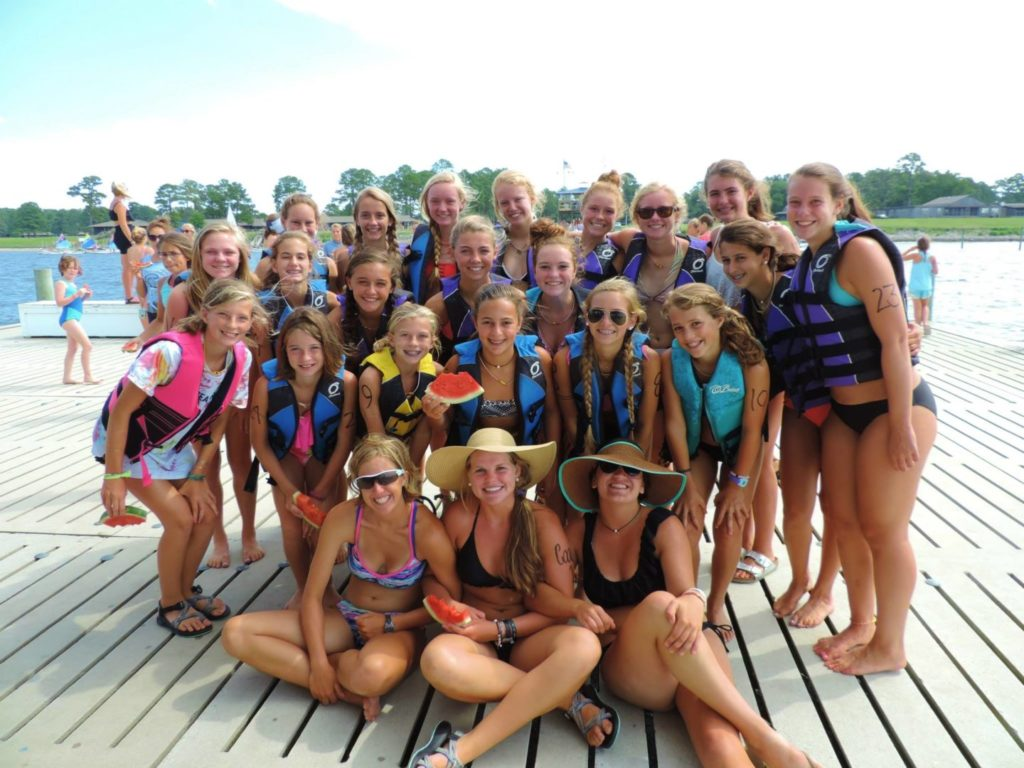 camp girls on the dock