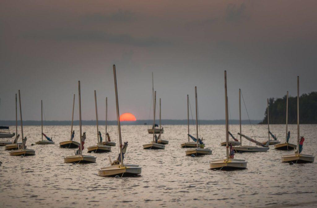 camp seafarer boats at sunset