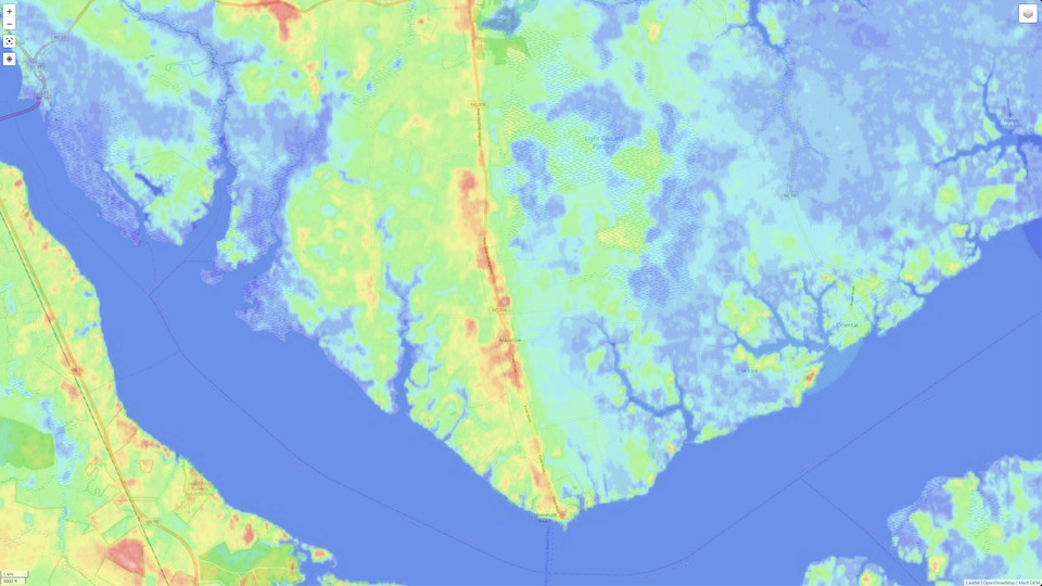 The Minnesott ridge is clearly visible in this heatmap visualization.