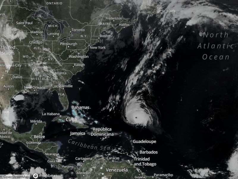 The Atlantic basin hurricane activity on September 30, 2021 with Hurricane Sam visible.