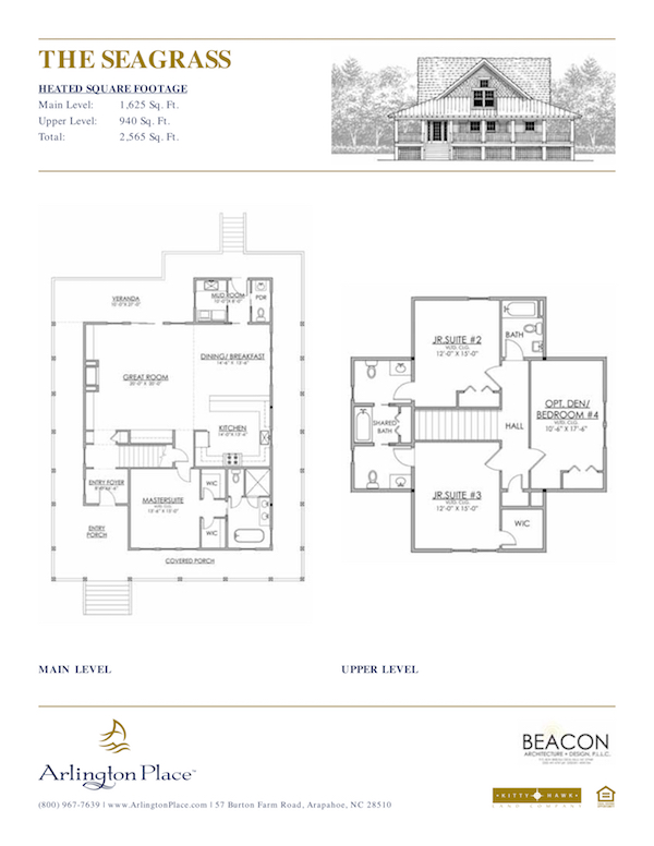 The Seagrass is one of the many custom homes you'll find at Arlington Place, a private waterfront community in Minnesott Beach, NC.