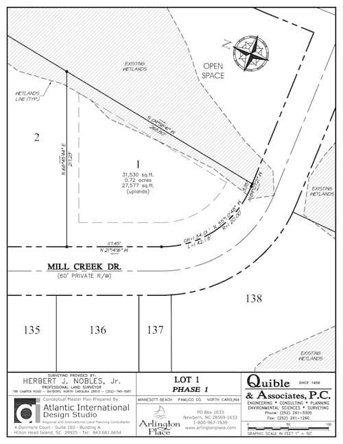 Arlington Place homesite 1 plat map.