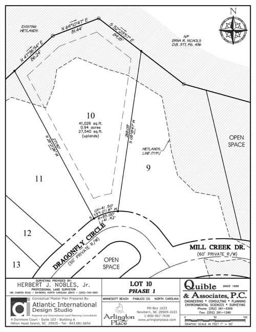 Arlington Place homesite 10 plat map.