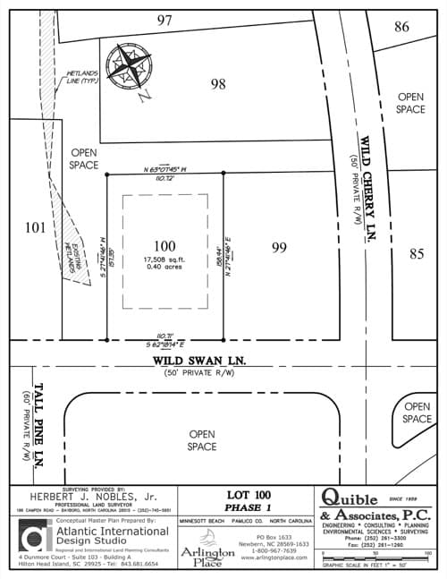 Arlington Place homesite 100 plat map.