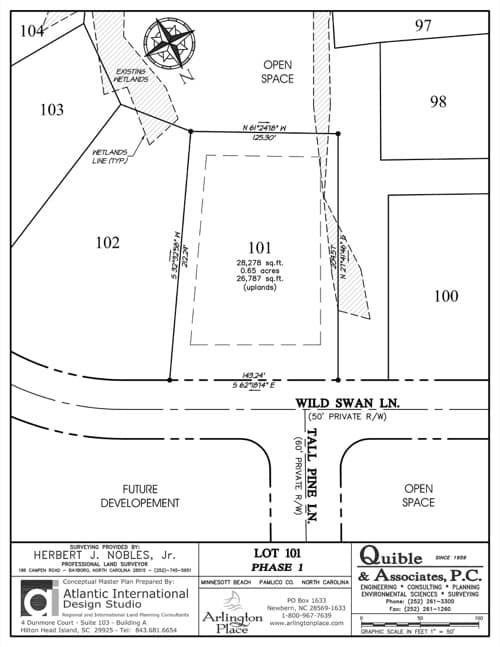 Arlington Place homesite 101 plat map.