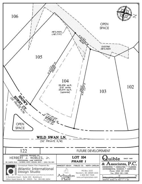 Arlington Place homesite 104 plat map.