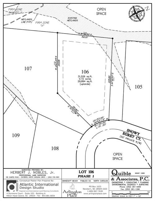Arlington Place homesite 106 plat map.