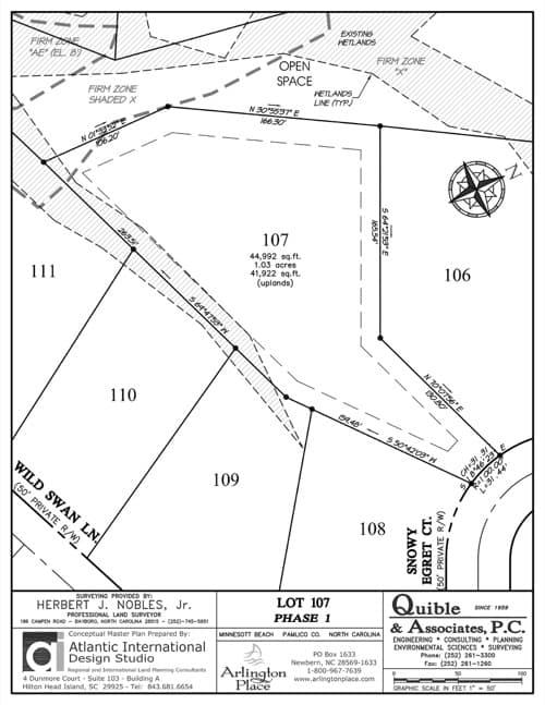 Arlington Place homesite 107 plat map.