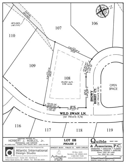 Arlington Place homesite 108 plat map.