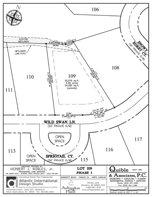 Arlington Place homesite 109 plat map.
