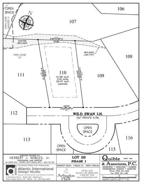 Arlington Place homesite 110 plat map.